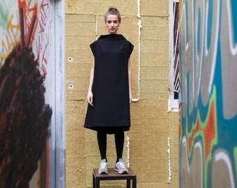 Black Dress, Maternity Dress, Women Casual Dress, High Collar Dress, Loose Fitting Maxi Dress, One size Dress
