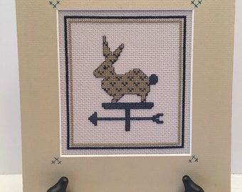 Rabbit Cross Stitch Picture~~ Matted Cross Stitch~~ Not Framed