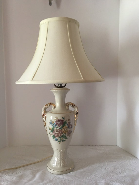 vintage urn style lamp electric table lamp gold accents floral