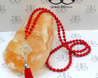 Japa Mala Red Coral 6mm and Om