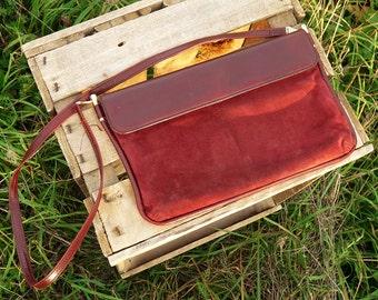Vintage bag bag Rodo handbag convertible clutch evening bag made in Italy Burgundy nubuck leather shoulder strap