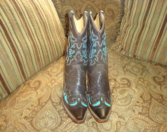 Final Clearance Brown Leather with Teal Inlay and Stitching Corral Western Boots 8M