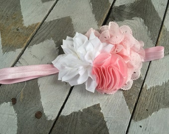Baby Headband Toddler Headband Pink and White Headband