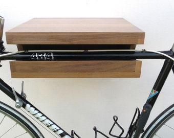 Wooden Bike Rack Walnut, Wooden Bike Shelf, Bike Wall Mount