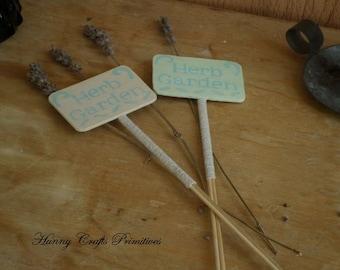 Herb Garden Plant Stake Sign Indoor Wood Home Kitchen Folk Art Rustic Gift Housewarming