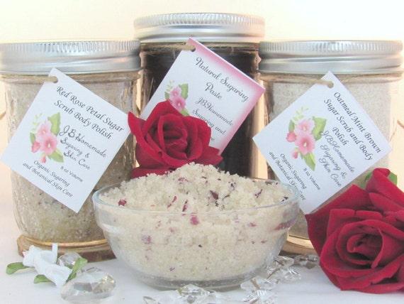 Sugaring Paste & Natural Red Rose Petal Sugar Scrub Deluxe Bundle