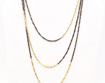 Gold and black chain necklace, vintage Trifari long gold chain, long gold necklace, black and gold necklace, long layering necklace