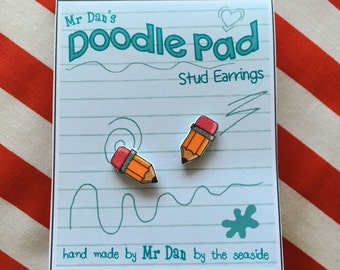 Cartoon Pencil Earring Studs