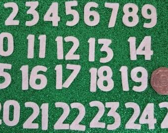 Ivory Felt Advent Numbers 1 to 25 - Premium 40% Wool Felt - 2cm Tall