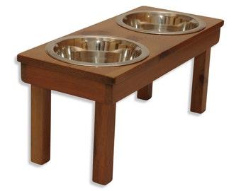 "Raised Dog Bowls 12"" tall ""Rusty Nails"" Medium Elevated Pet Feeder! 100% Eco-Friendly, Pet Safe Natural feeding station, dog bowl stand"
