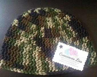 Crochet baby hat camouflage gorro camuflagiado