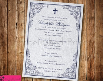 Elegant Navy Blue Baptism Invitation