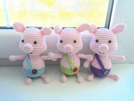 Piglet - Crochet Toy - Nursery Toy - Three Little Pigs - Pig Gifts - Piggy - Amigurumi Crochet - Crochet Animals - Pig - Baby Toy - Gifts