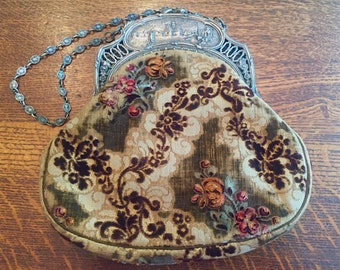 Vintage Metal and Tapestry Purse Handbag