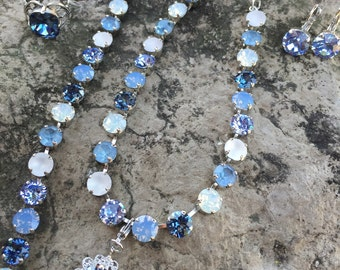 8mm blue tone swarovski jewelery set