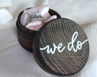 Hand lettered wooden ring box | wedding ring box | ring bearer ring box | we do ring box