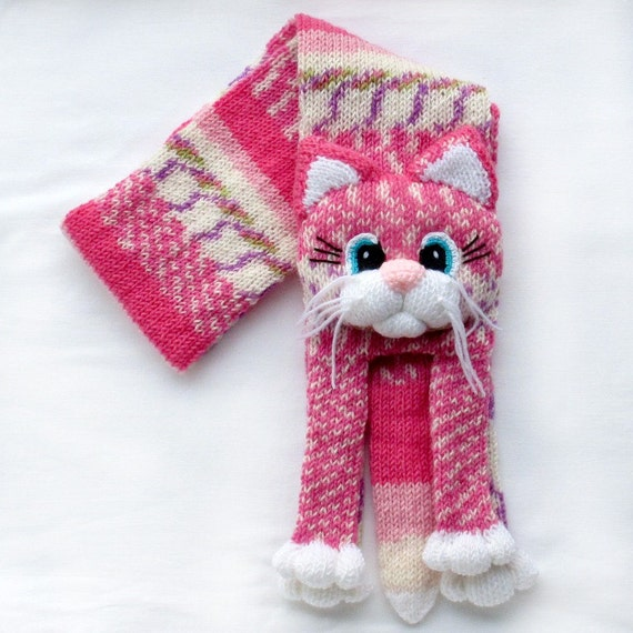 Knitted Cat Scarf Pattern : Knitted cat scarfKnitted kids scarfAnimal scarfCat