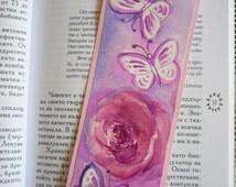 Original watercolor bookmark of pink roses, watercolour bookmark, Roses Painting,  Original Watercolor Painting, Butterfly watercolor, book
