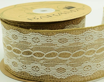 Jute with vintage style lace trim by Barama