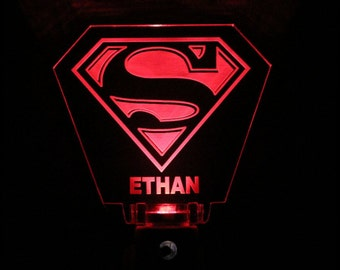 Superman Night Light Personalized Superhero Decor