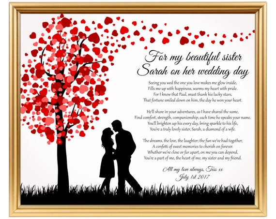Wedding Day Gift For Sister : Wedding gift poem for Sister - Sister wedding gift - Gifts for Sister ...