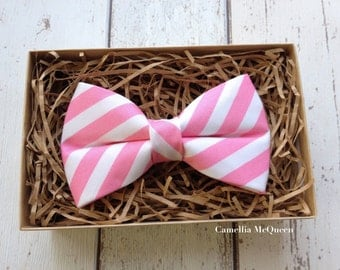 Men's bow tie, boys' bow tie, pink and white striped bow tie