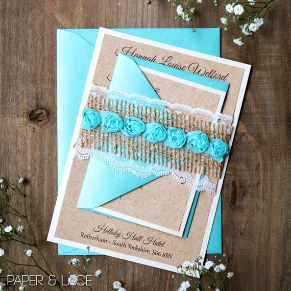 HANNAH - Burlap & Lace Wedding Invitation - Rustic Country Invitation with Aqua Rosettes, Ivory Lace, and Natural Burlap