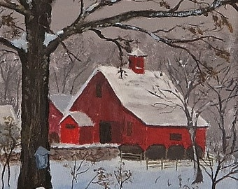 RED BARN   New England , Spring in NewEngland Original Painting