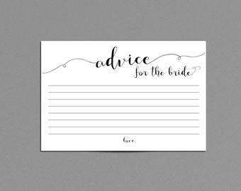 Advice for the Bride Printable File Instant Download, Black and White Bridal Shower Game, Words of Advice for the Bride to Be Wedding Shower