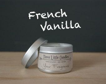 French Vanilla Soy Candle Tins - 2oz, 4oz or 8oz