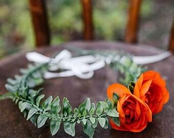 Faux Floral Crown w/ Orange Blooms
