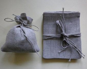 Natural linen bags - 10 pcs - rustic wedding favor - wedding favor bags, burlap linen gift bags - linen favor bag size 3 x 4 inch