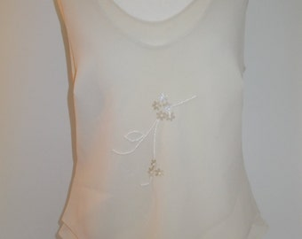 Vintage camisole blouse top 80s sleeveless top shirt by Ribkoff Trends size small