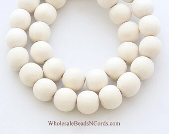 15 inch Strand 12mm WOOD Beads - Round - IVORY COLOR - Wholesale Wooden Beads - Fast Ship - Usa Seller - 0548E