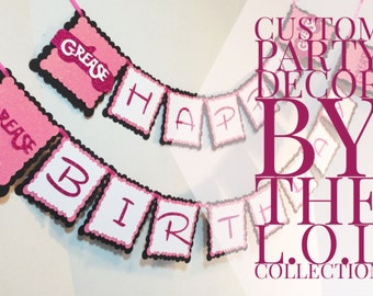 Grease Birthday Banner, Pink Ladies, T-Birds Party Supplies, Party Decor, Birthday Decorations