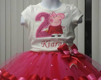 Peppa Pig tutu set, Peppa Pig Birthday Outfit, Peppa Pig Birthday Shirt ,Ribbon tutu,peppa pig dress