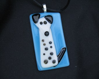 Art Glass Dog Pendant, Glass Art Fused Dalmation Jewelry,  Fused Art Glass Pendant