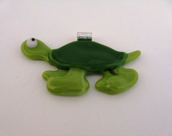 Green Fused Art Glass Turtle Pendant,   Glass Art Bug Eyed Turtle,  Fused Glass Turtle Jewelry