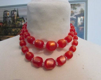 1950s pearlescent orangey-red 'square' plastic bead double strand necklace