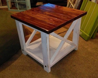 ON SALE Rustic End Tables   Rustic X End Table   Farm Style End Tables
