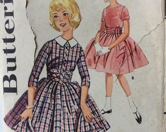 Butterick 9911 girls dress w/full skirt size 12 vintage 1960's sewing pattern