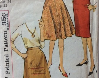CLEARANCE!!  Simplicity 4601 vintage 1960's juniors skirts sewing pattern waist 24