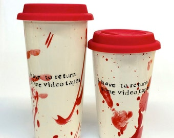 American Psycho Videotapes- ceramic travel mug