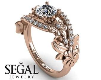 Custom Engagement Ring 14k Rose Gold Floral Ring Unique Engagement Ring Moissanite Ring Promise Ring Custom Engagement Ring - Sadie