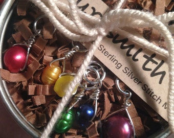 Rainbow Mix Freshwater Pearl and Sterling Silver Stitch Markers for Knitting, Set of 6, Knitting Notions, Gift for Knitter,