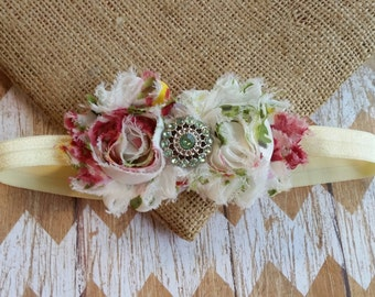 Shabby flower headband, green and red flower headband, Vintage inspired flower headband, Baby headband, childrens headband