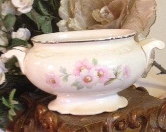 Antique Vintage Homer Laughlin virginia rose Sugar Bowl/shabby chic style/cottage/ wedding decor