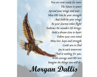 Spread Your Wings and Soar Poem ~ College / High School Graduation Graduate 8 x 10 Print ~ Can be Personalized