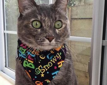 Happy Birthday Cat Bandana    Custom Reversible Classic Tie Bandana    Personalized Cat Gift by Three Spoiled Dogs