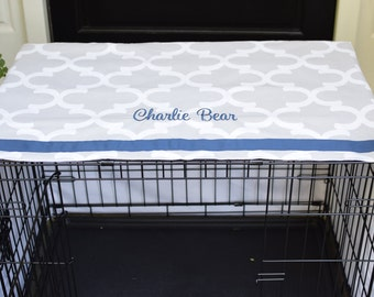 Crate Cover French Grey Quatrefoil with Navy Name || Dog Kennel Cover Personalize with Pet Name || Custom Gift || Three Spoiled Dogs